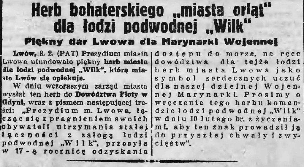 Herb bohaterskiego miasta orląt dla łodzi podwodnej Wilk. Piekny dar Lwowa dla Marynrki Wojennej