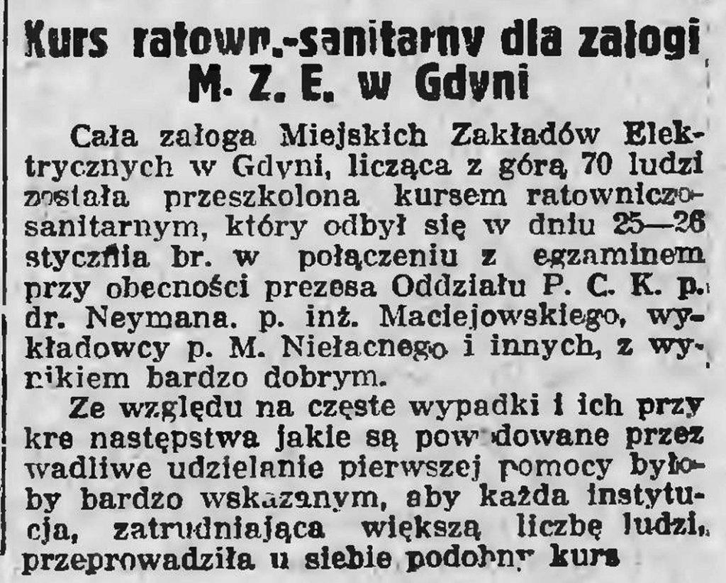 Kurs ratown.-sanitarny dla załogi M. Z. E w Gdyni