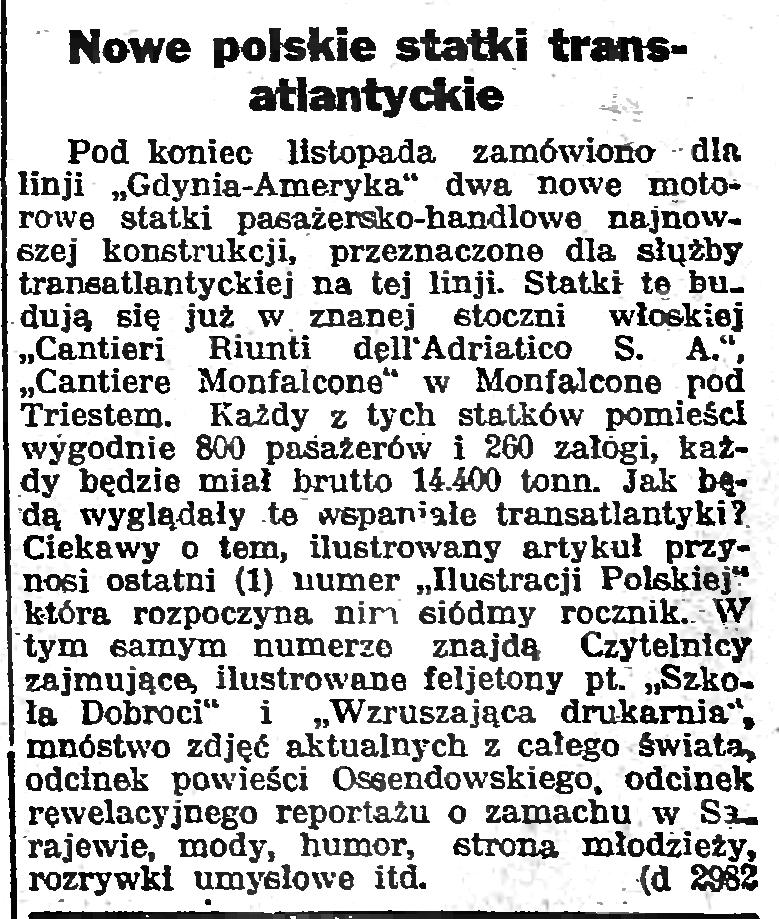 Nowe polskie statki transatlantyckie