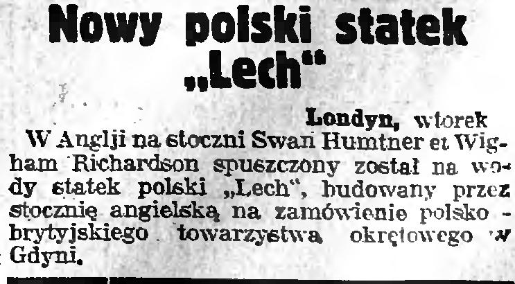 Nowy polski statek Lech