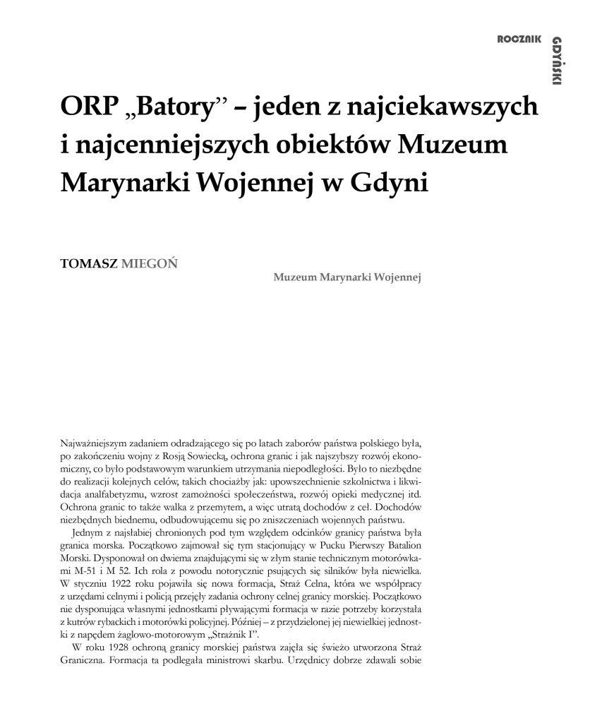 """ORP ,,Batory"""" – jeden z najciekawszych obiektów Muzeum Marynarki Wojennej w Gdyni"""
