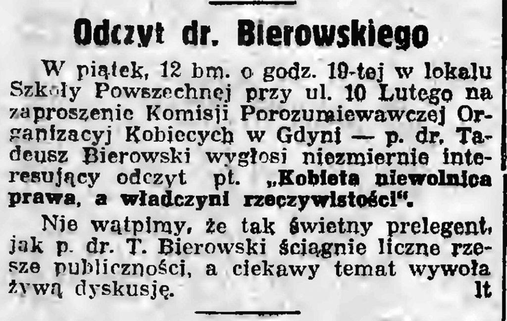 Odczyt dr. Bierowskiego