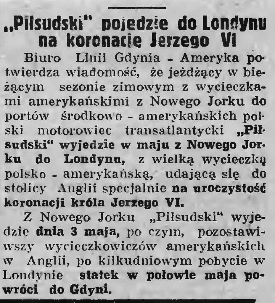 Piłsudski pojedzie do Londynu na koronację Jerzego VI