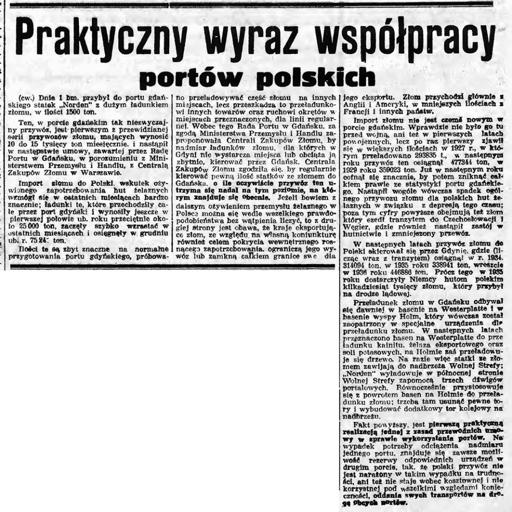 Praktyczny wyraz współpracy portów polskich
