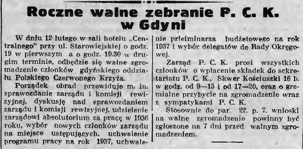 Roczne walne zebranie P. C. K. w Gdyni