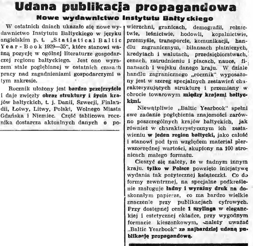 Udana publikacja propagandowa. Nowe wydawnictwo Instytutu Bałtyckiego