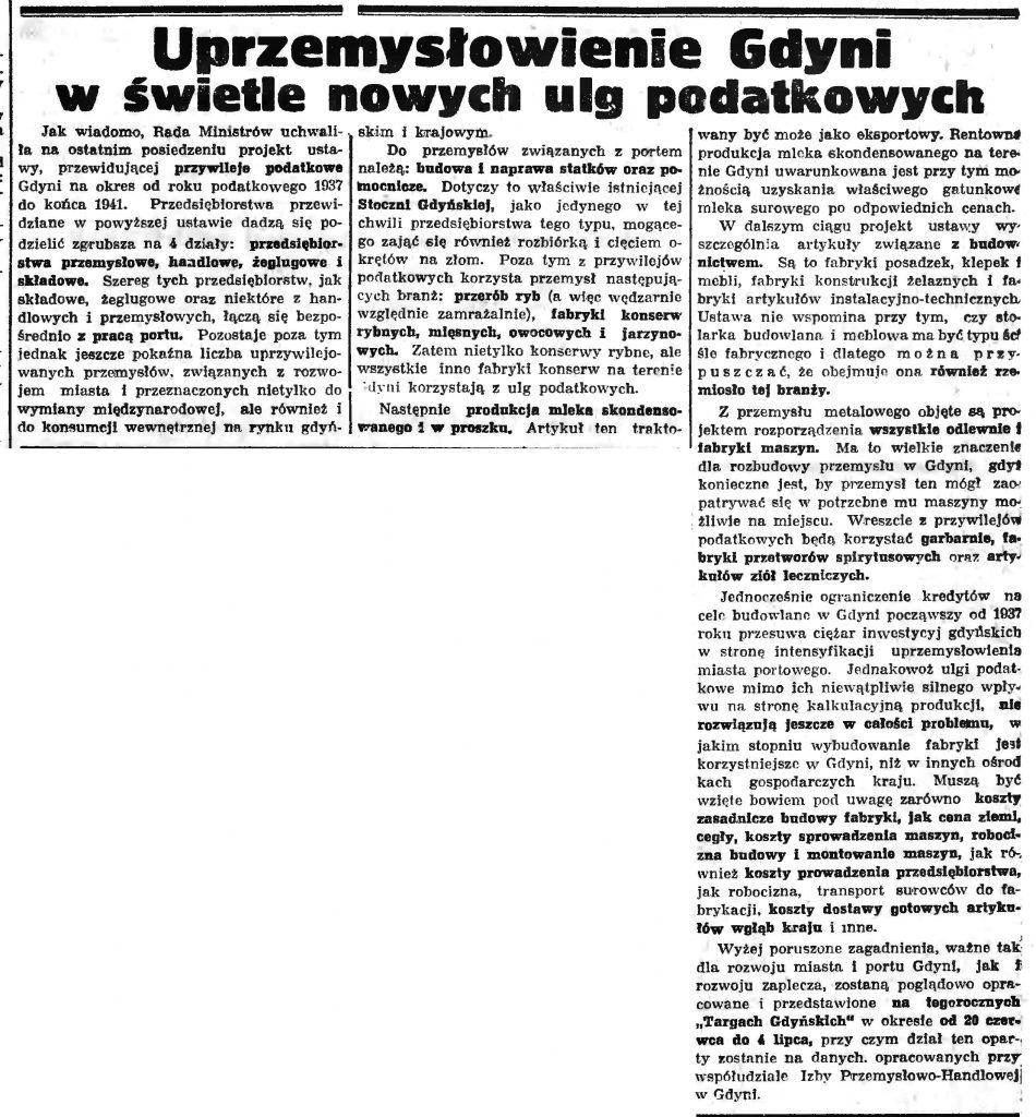 Uprzemysłowienie Gdyni w świetle nowych ulg podatkowych