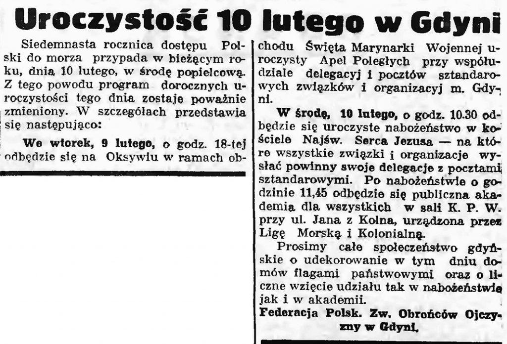 Uroczystość 10 lutego w Gdyni