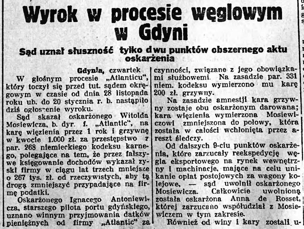 Wyrok w procesie węglowym w Gdyni. Sąd uznał słuszność tylko dwu punktów obszernego aktu oskarżenia