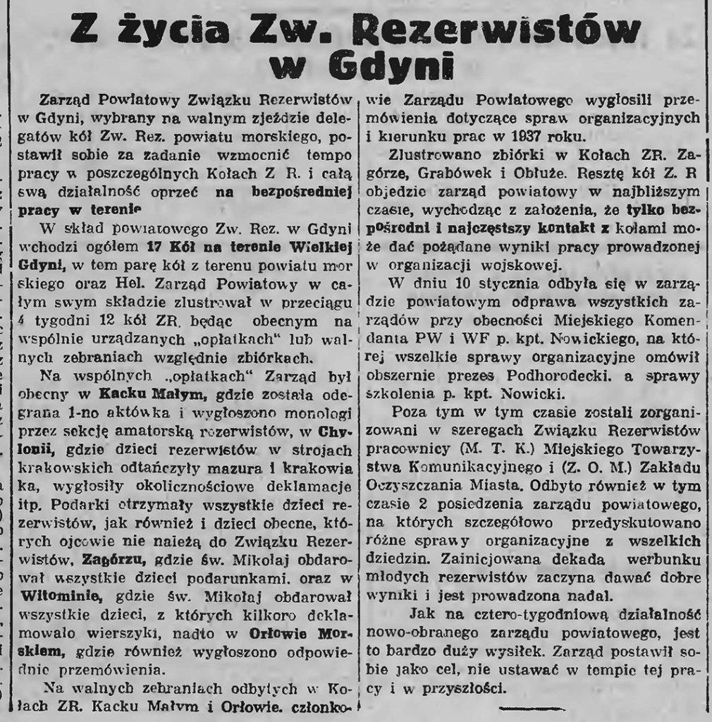 Z życia Zw. Rezerwistów w Gdyni