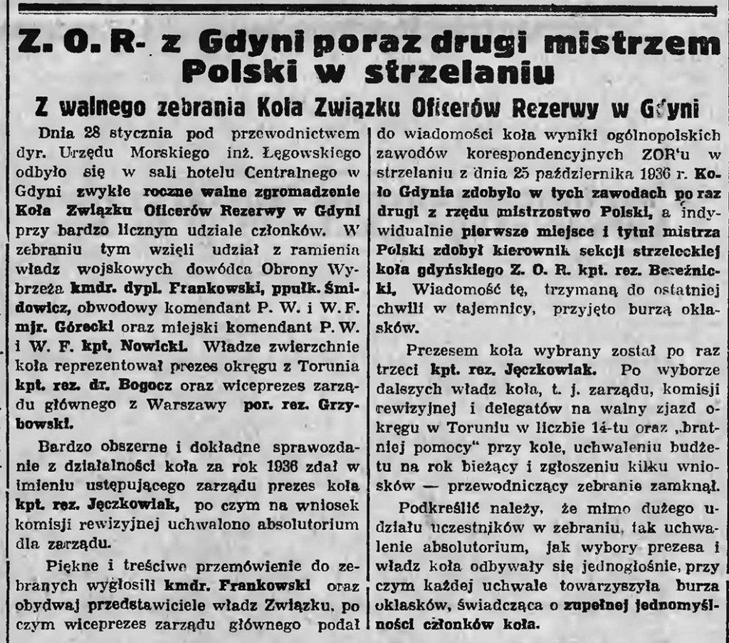 Z. O. R. w Gdyni po raz drugi mistrzem Polski w strzelaniu. Z walnego zebrania Koła Związku Oficerów Rezerwy w Gdyni
