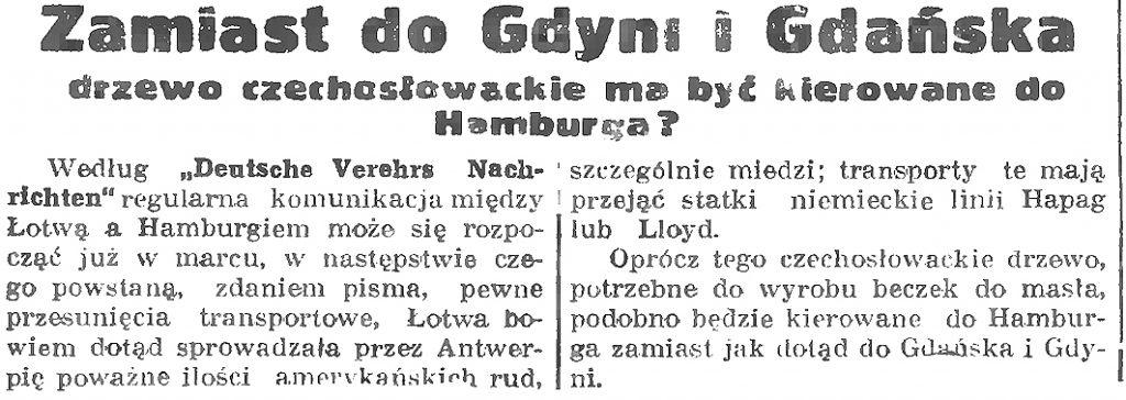 Zamiast do Gdyni i Gdańska drzewo czechoslowackie ma być kierowane do hamburga