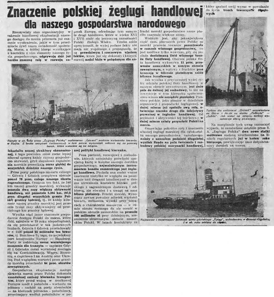 Znaczenie polskiej żeglugi handlowej dla naszego gospodarstwa narodowego