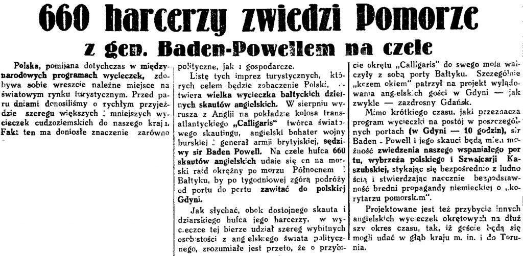 660 harcerzy zwierdiz Pomorze z gen. Baden-Powellem na czele