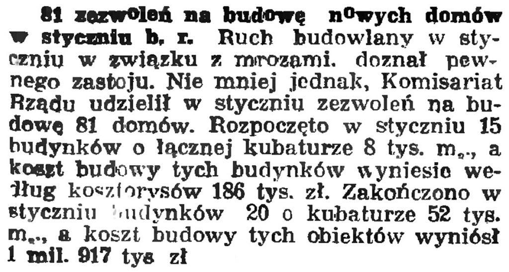 91 zezwoleń na budowę domów w styczniu b.r.