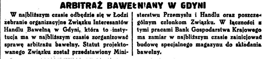 Arbitraż bawełny w Gdyni