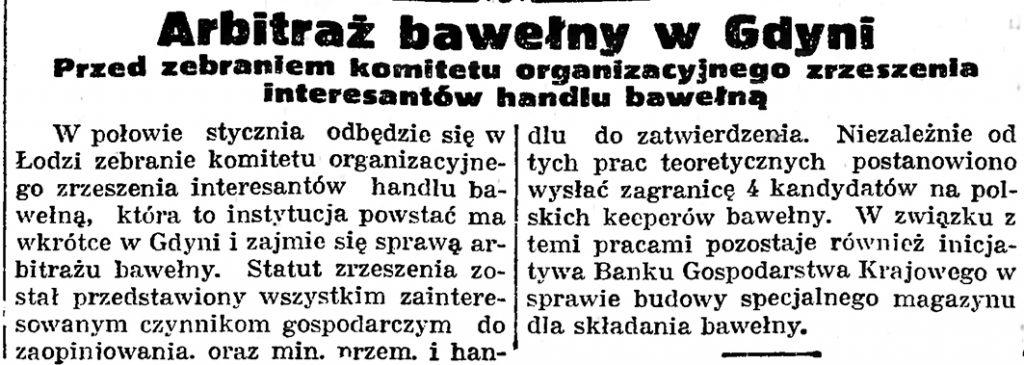 Arbitraż bawełny w Gdyni. Przed zebraniem komitetu organizacyjnego zrzeszenia interesantów handlu bawełną