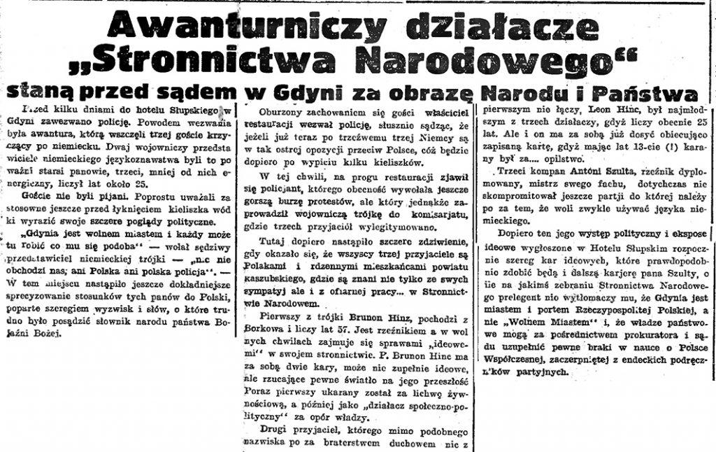 Awanturniczy działacze Stronnictwa narodowego staną przed sądem w Gdyni za obrazę Narodu i Państwa