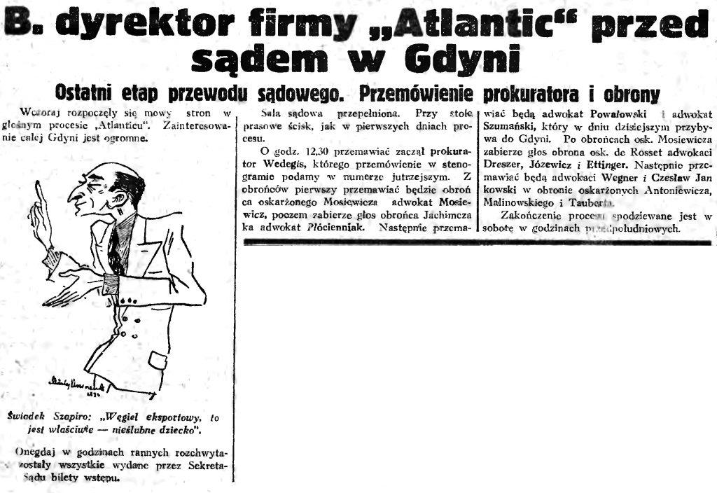 B. dyrektor firmy Atlantic przed sądem w Gdyni. Ostatni etap przewodu sadowego. Przemowienia prokuratora i obrony