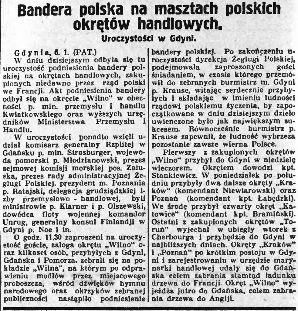 Bandera polska na masztach polskich okrętów handlowych
