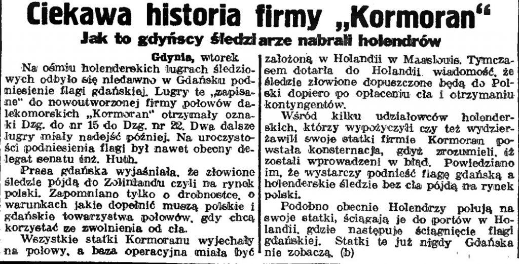 Ciekawa historia firmy Kormoran. Jak to gdyńscy śledziarze nabrali Holendrów
