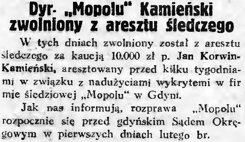 """Dyr. """"Mopolu"""" Kamieński zwolniony z aresztu śledczego"""