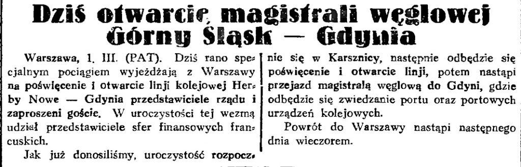 Dziś otwarcie magistrali weglowej Górny Śląsk - Gdynia