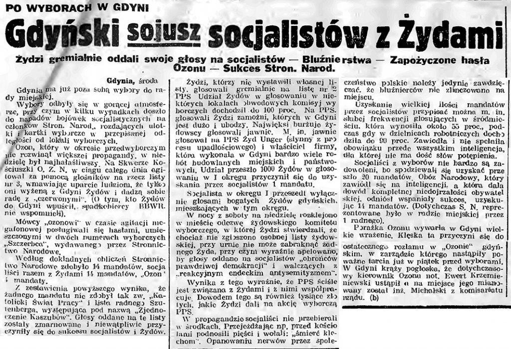 Gdyński sojusz socjalistów z Żydami