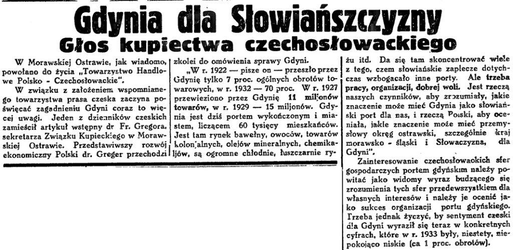 Gdynia dla Słowiańszczyzny. Głos kupiectwa czechosłowackiego