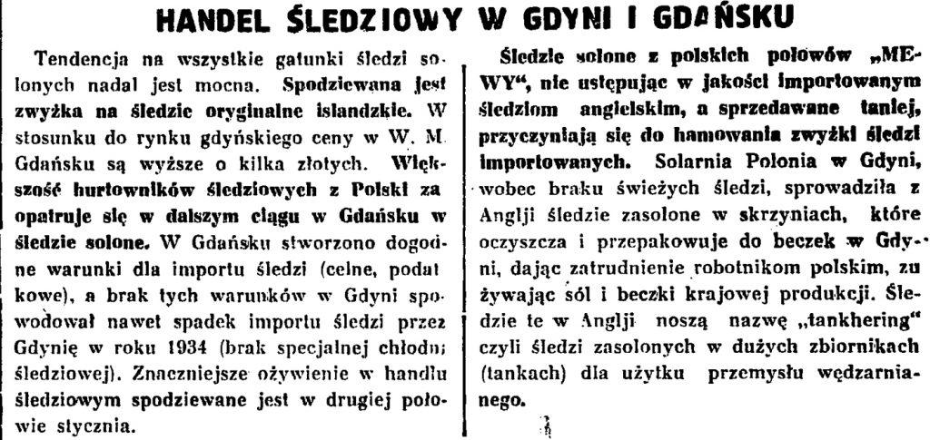 Handel śledziowy w Gdyni i Gdańsku
