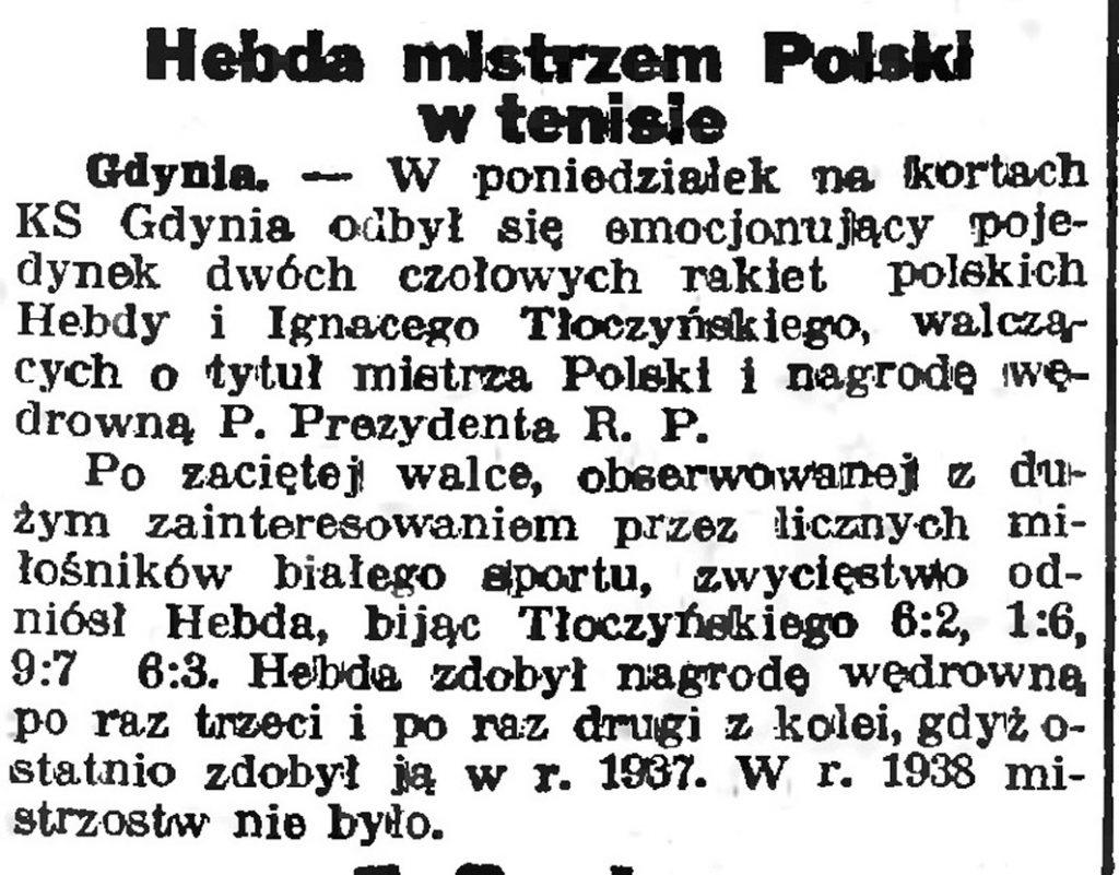 Hebda mistrzem Polski w tenisie