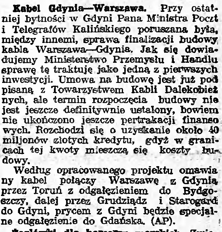 Kabel Gdynia - Warszawa