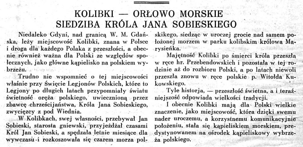 Kolibki - Orłowo Morskie siedziba króla Jana Sobieskiego