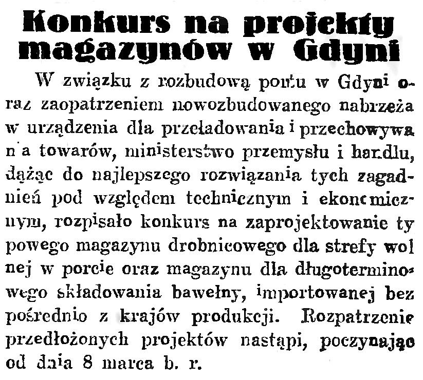 Konkurs na projekty magazynów w Gdyni