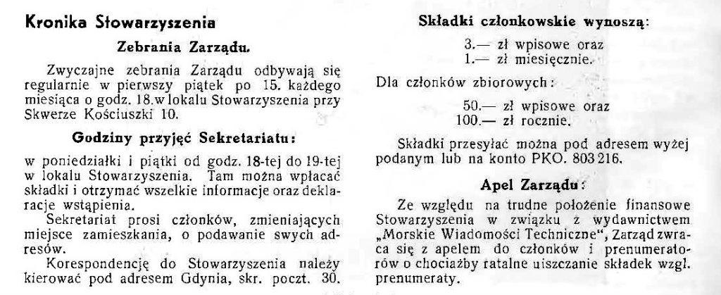 Kronika Stowarzyszenia [Techników Okrętowych Polskich]