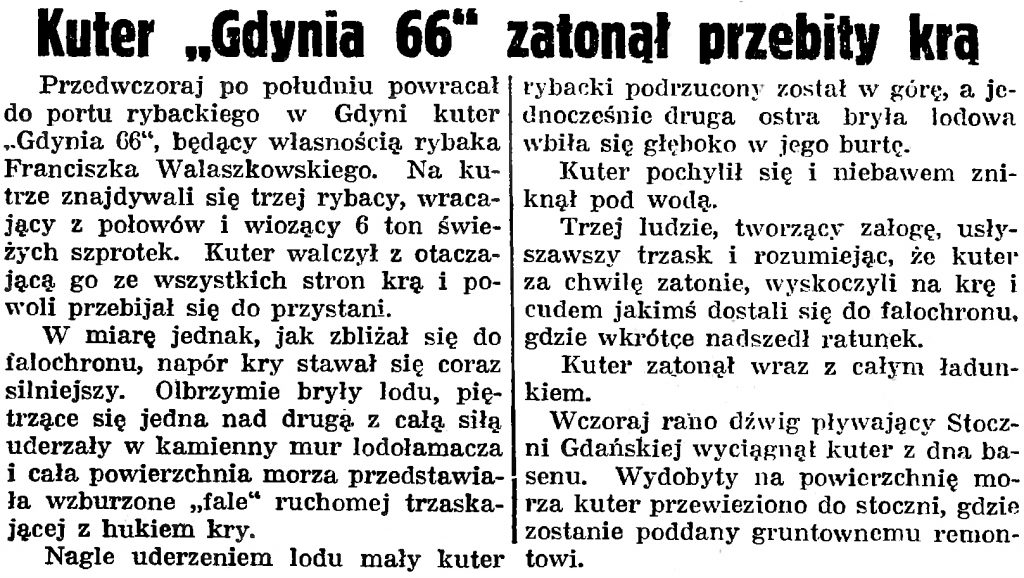 Kuter Gdynia 66 zatonął przebity krą