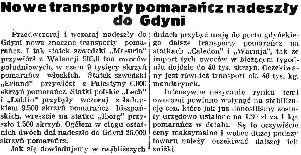 Nowe transporty pomarańcz nadeszły do Gdyni
