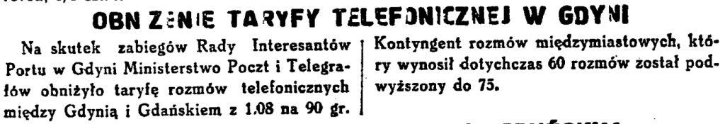 Obniżenie taryfy telefonicznej w Gdyni