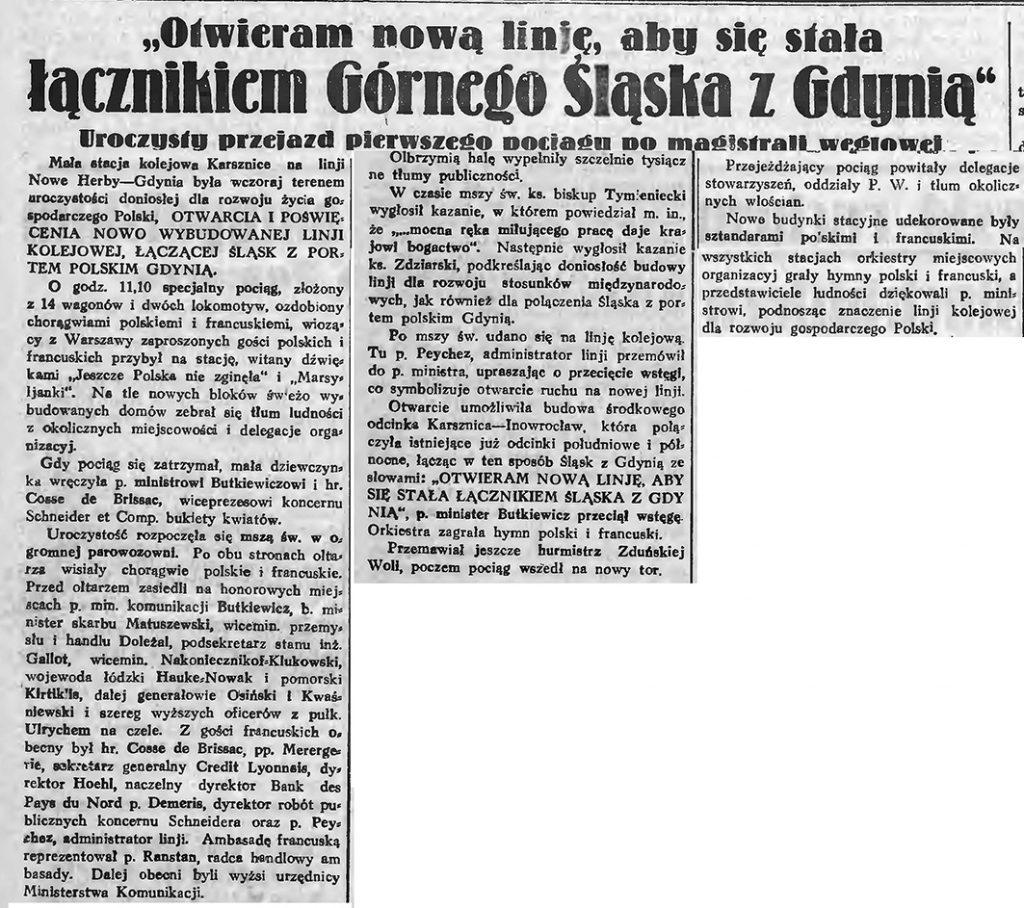 Otwieramy nowaąlinię, aby się stała łącznikiem Górnego Śląska z Gdynią