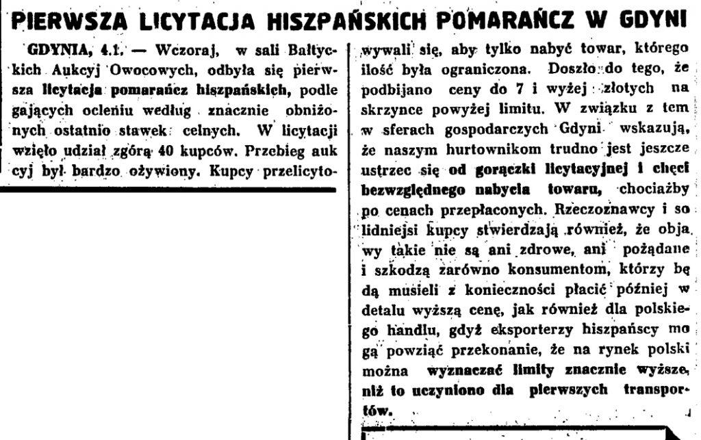 Pierwsza licytacja hiszpańskich pomarańcz w Gdyni