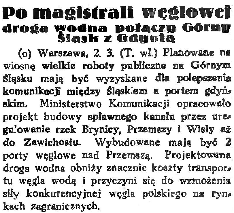 Po magistrali węglowej droga wodna połączy Górny Śląsk i Gdynię