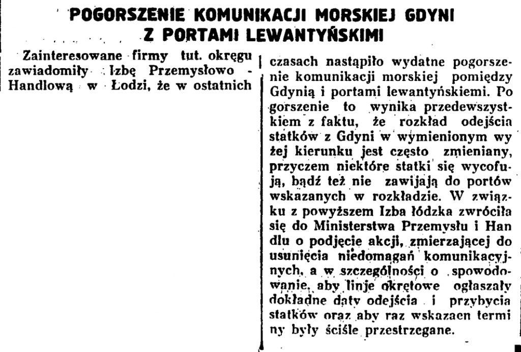 Pogorszenie komunikacji morskiej Gdyni z portami lewantyńskimi