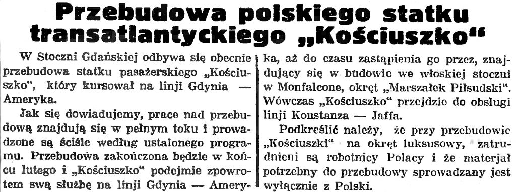 Przebudowa polskiego statku transatlantyckiego Kościuszko
