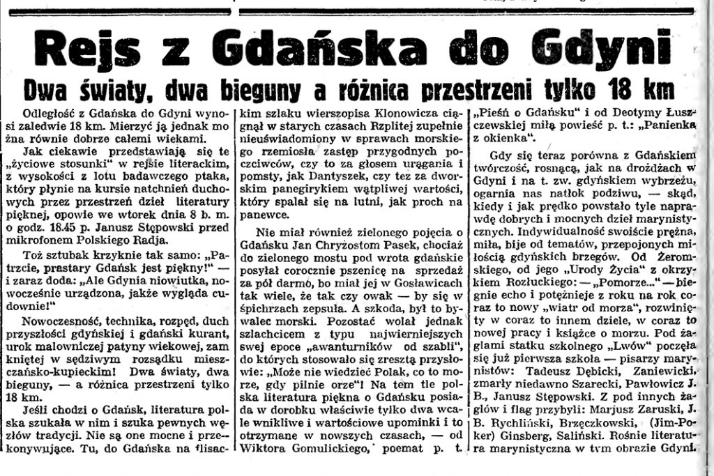Rejs z Gdańska do Gdyni. Dwa światy, dwa bieguny a różnica przestrzeni tylko 18 km