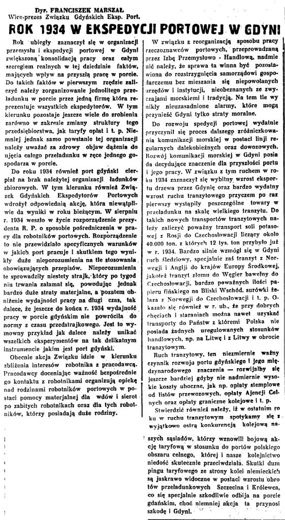 Rok 1934 w ekspedycji portowej w Gdyni
