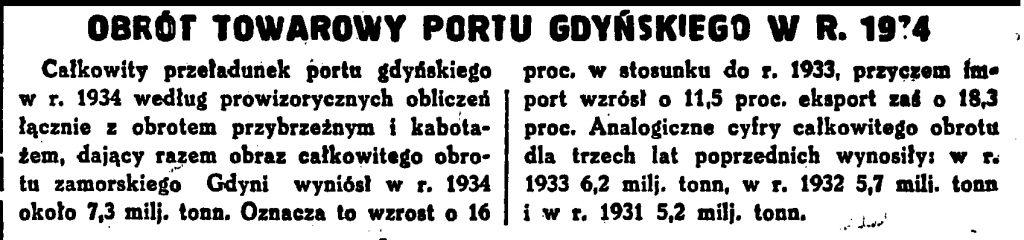 Ruch statków w Gdyni w roku 1934 według klasyfikacji firm maklerskich 2