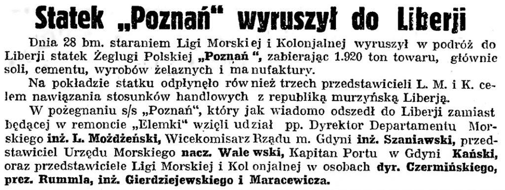 Staztek Poznań wyruszył do Liberji