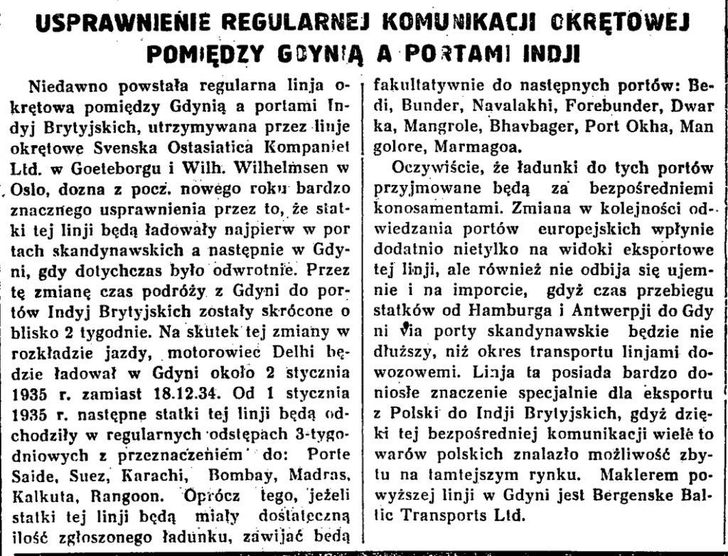 Usprawnienie regularnej komunikacji okrętowej pomiędzy Gdynią a portami Indji