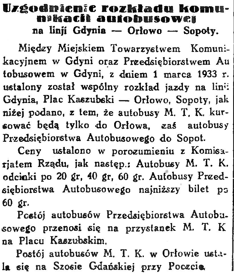 Uzgodnienie rozkładu komunikacji autobusowej na linji Gdynia - Orłowo - Sopoty