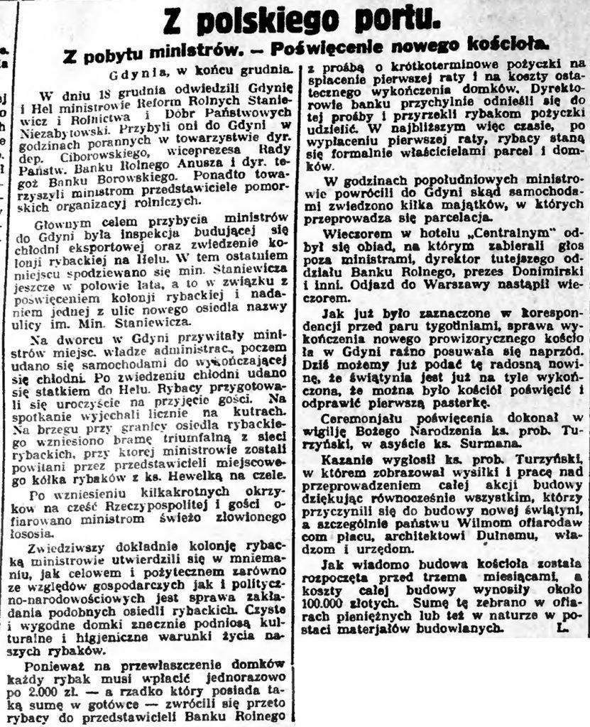 Z polskiego portu. Z pobytu ministrów. - Poświęcenie nowego kościoła